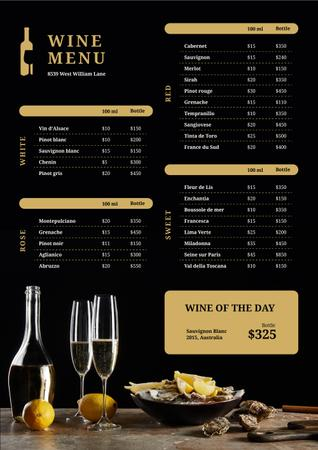 Ontwerpsjabloon van Menu van Wine Bar drinks