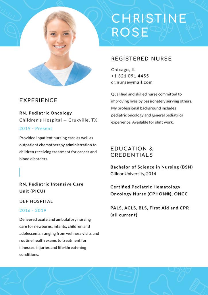 Registered Nurse skills and experience in Blue — Créer un visuel