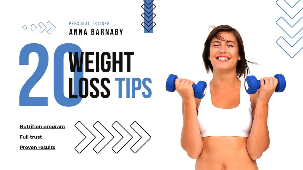 Woman Training with Dumbbells for Weight Loss — Створити дизайн