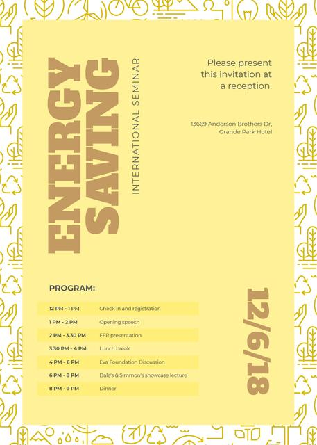 Szablon projektu Energy saving technologies seminar Invitation