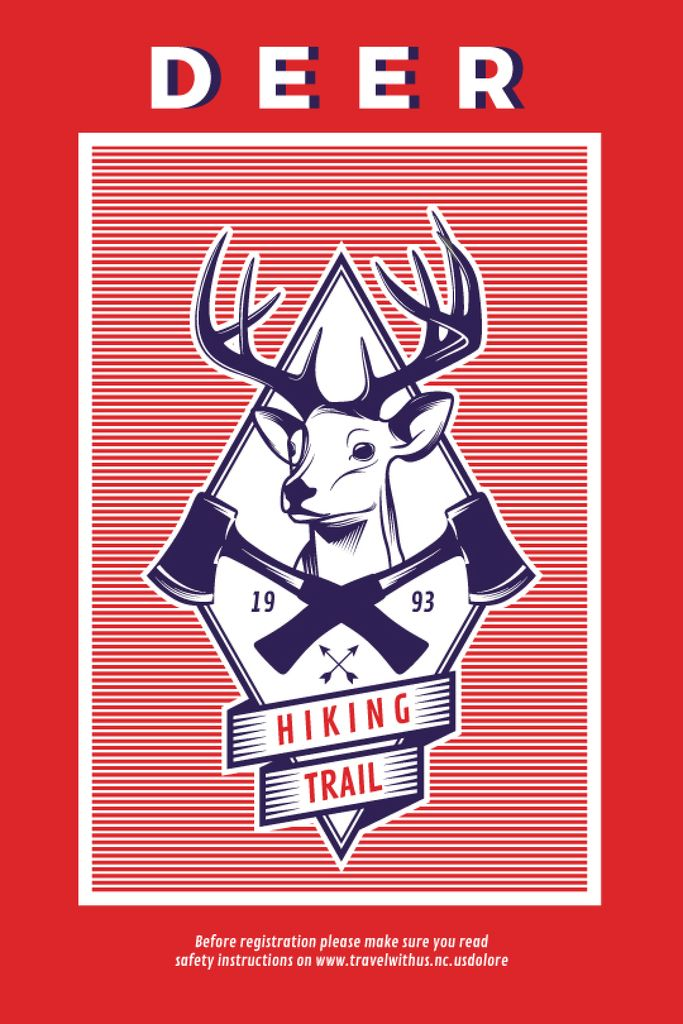 Hiking Trail Ad Deer Icon in Red | Tumblr Graphics Template — Modelo de projeto