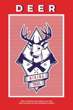 Hiking Trail Ad Deer Icon in Red | Tumblr Graphics Template