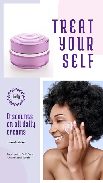 Self-Care Awareness Month Woman Applying Cream Instagram Story Design Template