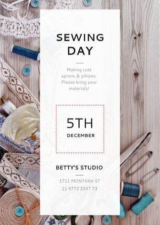Sewing day event with needlework tools Flayer Modelo de Design