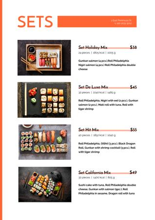 Asian cuisine Rolls sets Menu Modelo de Design