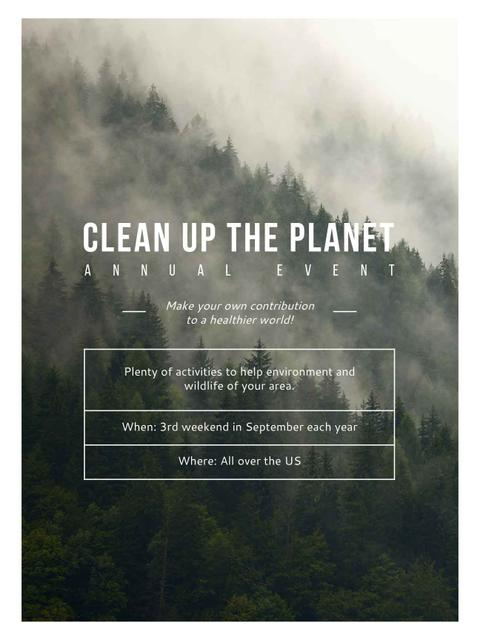 Template di design Ecological Event Foggy Forest View Poster US