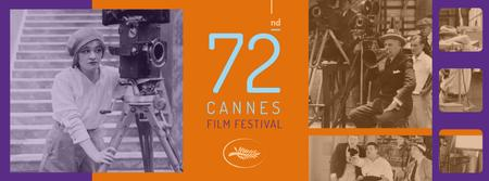 Cannes Film Festival with old film Facebook coverデザインテンプレート