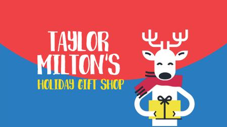 Template di design Christmas Offer Deer with Gift in Hands Full HD video