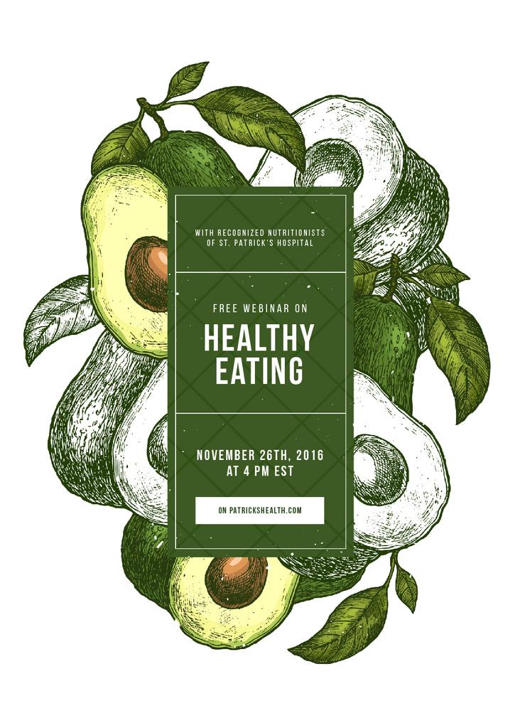 Green avocado halves for Healthy eating — Modelo de projeto