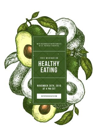 Plantilla de diseño de Green avocado halves for Healthy eating Invitation