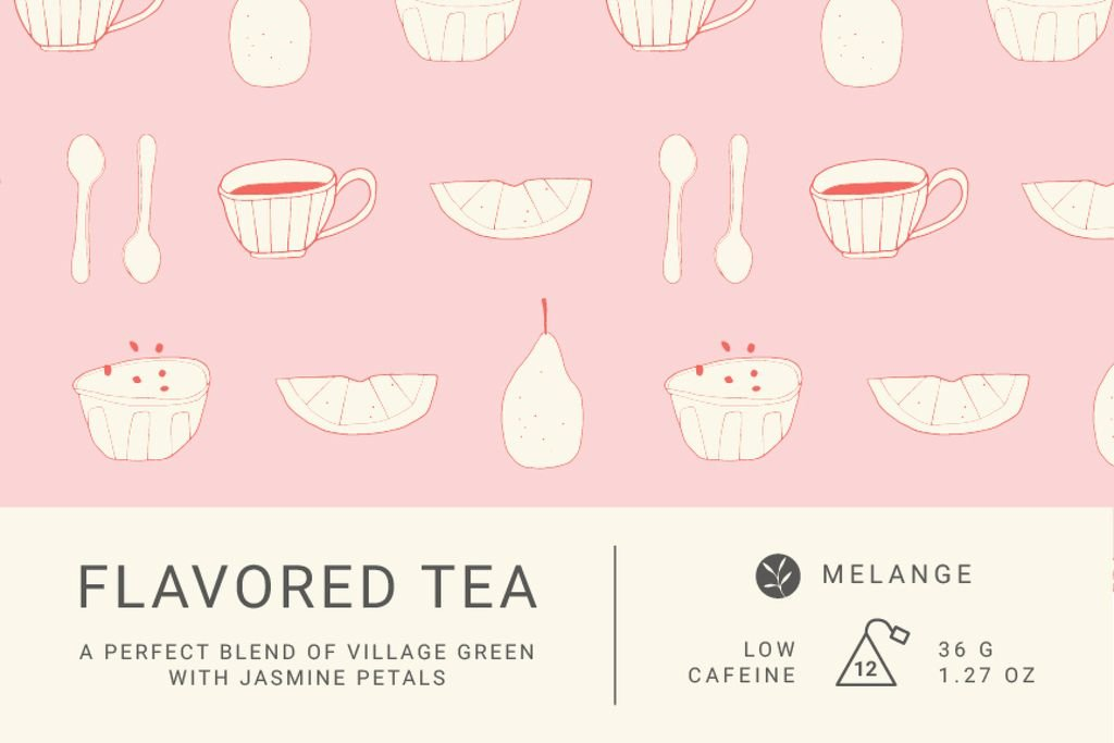 Tea packaging with cups pattern in pink — Crea un design