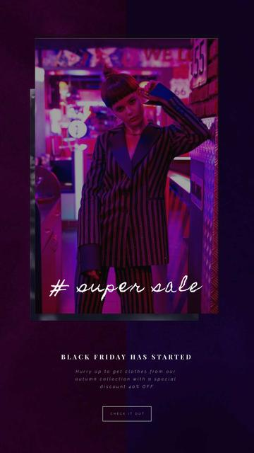 Black Friday Sale Woman in Pink Light Instagram Video Story – шаблон для дизайна