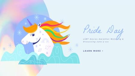 Designvorlage Pride Day Unicorn with Rainbow Hair für Full HD video