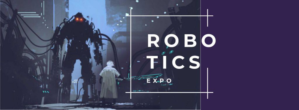 Scientist creating giant robot Facebook cover – шаблон для дизайну