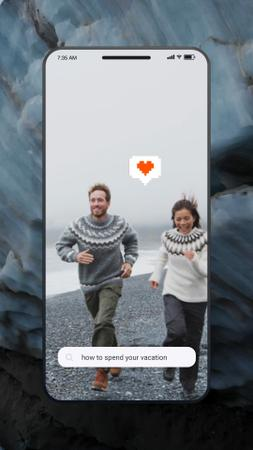 Template di design Travel Tips Couple at the Beach in Iceland Instagram Video Story