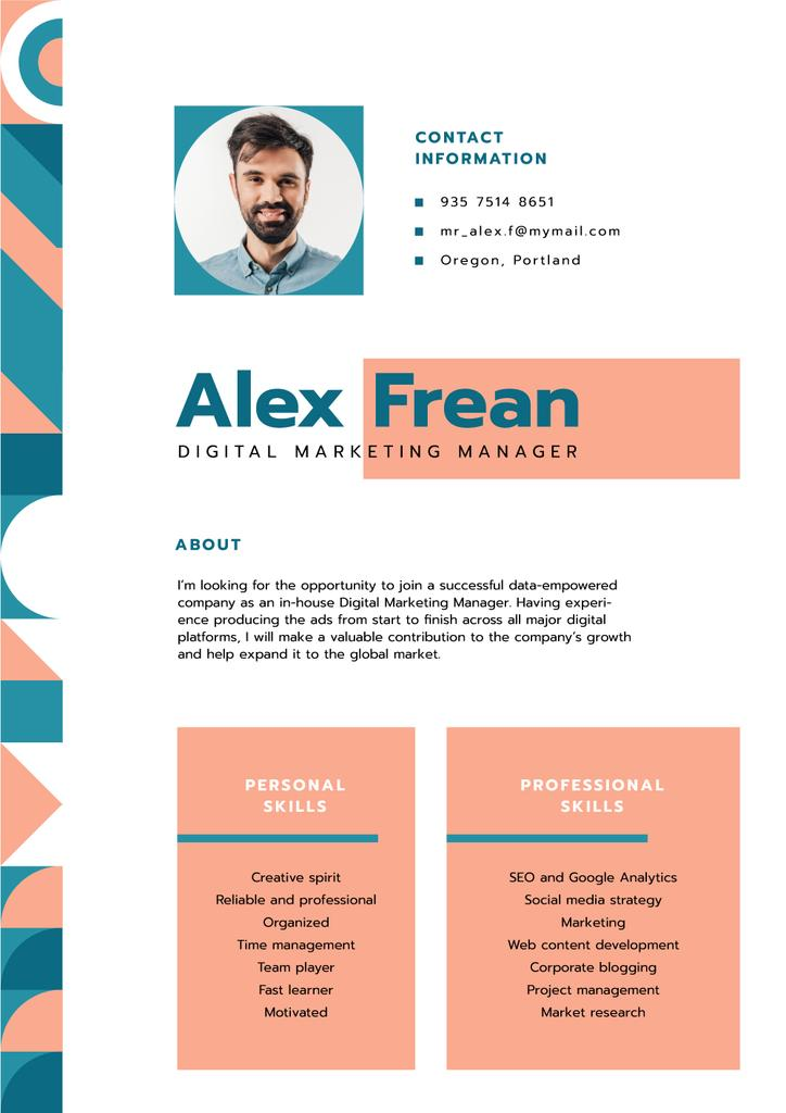 Marketing Manager professional skills and experience  — Maak een ontwerp