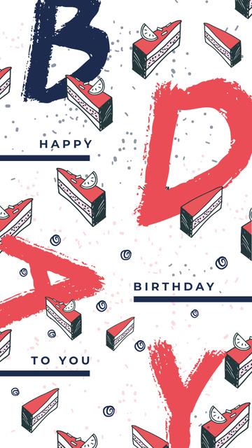 Pieces of birthday cake Instagram Story – шаблон для дизайну