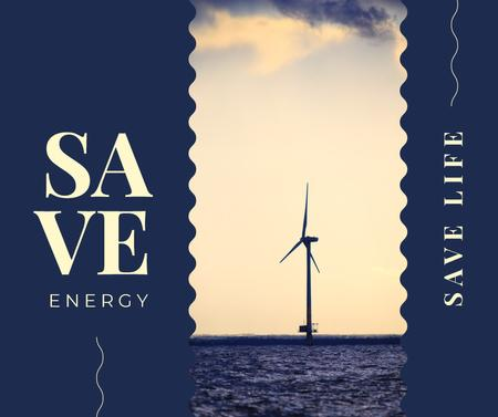 Template di design Wind turbines farm in sea Facebook
