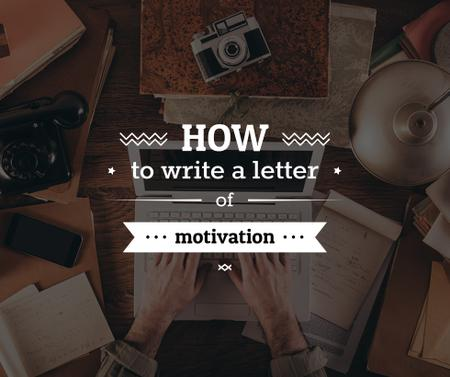 Designvorlage Motivation Letter writing Tips für Facebook