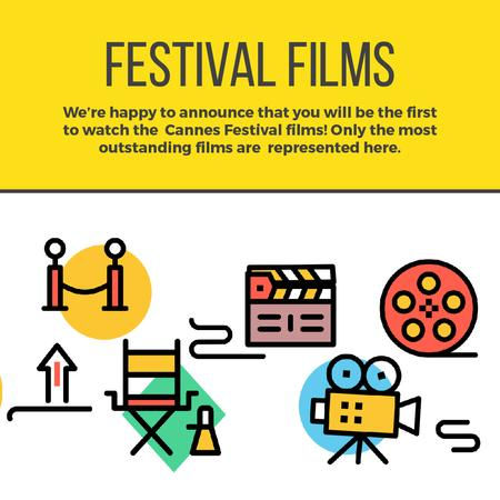 Template di design Movie festival Announcement with Film icons Animated Post