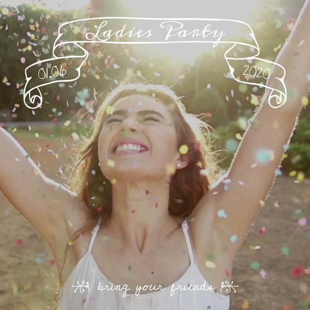 Happy girl under falling Confetti Animated Post Modelo de Design