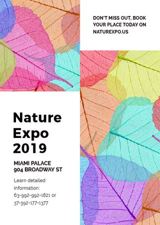 Ontwerpsjabloon van Flayer van Nature Expo announcement with colorful leaves