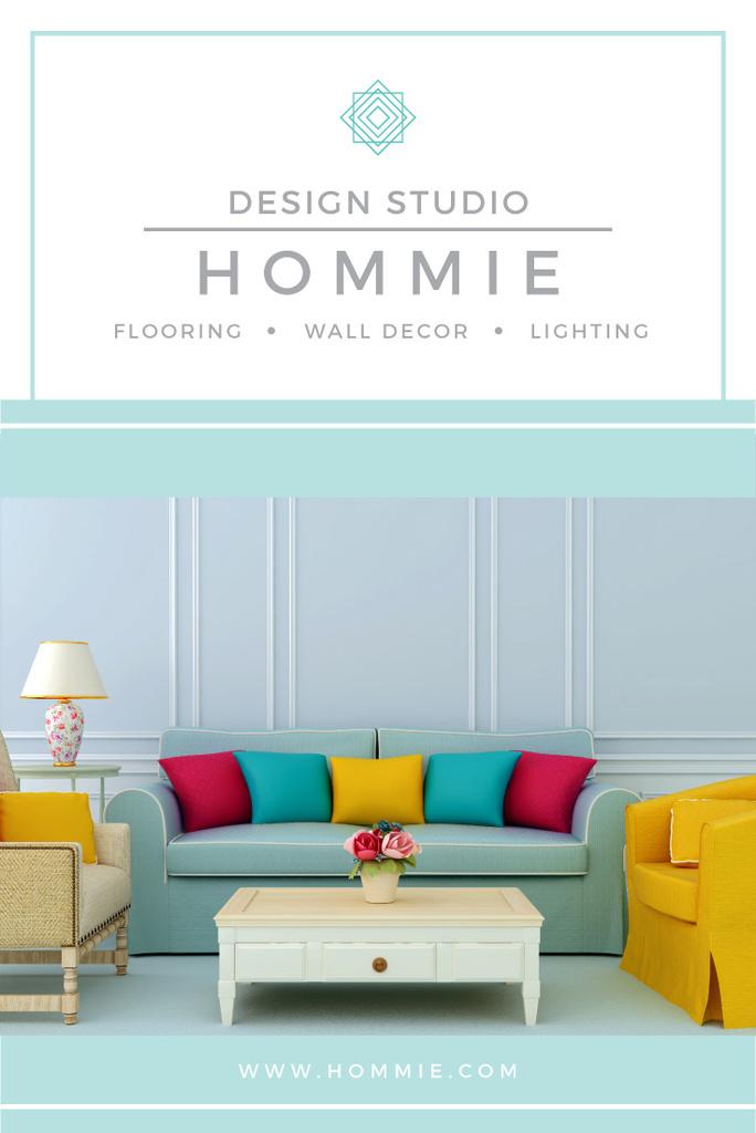Modern Room Design with Sofa   Pinterest Template — Créer un visuel