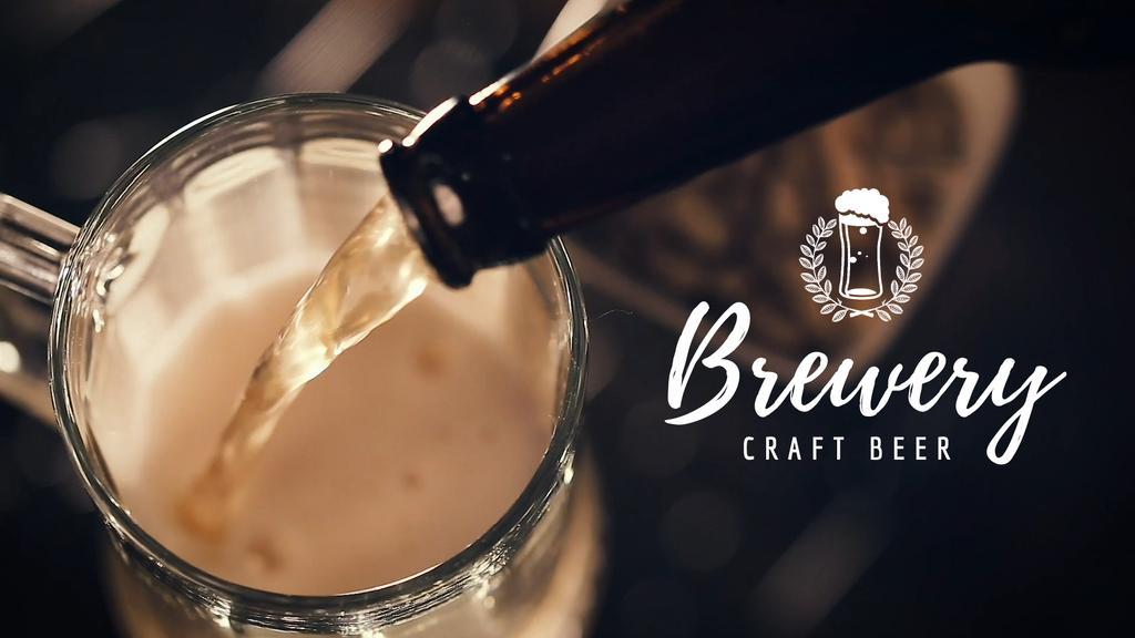 Brewery Ad with Beer Pouring in Mug — Modelo de projeto