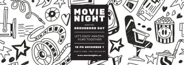 Movie Night Event Announcement Arts Icons Pattern | Tumblr Banner Template