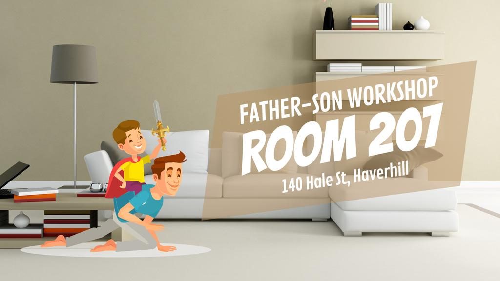 Family Event Invitation Dad and Son Playing Knights — Crea un design