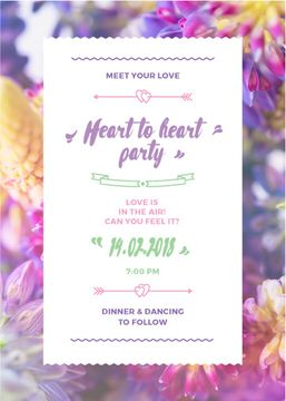 Party Invitation with Purple Flowers | Flyer Template