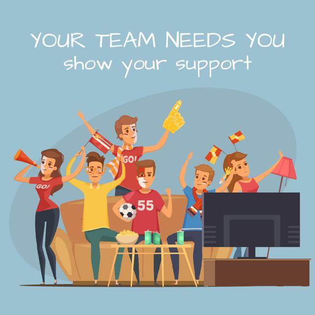 Plantilla de diseño de Excited fans watching sport event on TV Animated Post