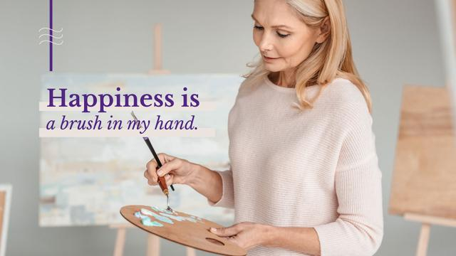 Plantilla de diseño de Woman holding palette and paintbrush in art studio Presentation Wide