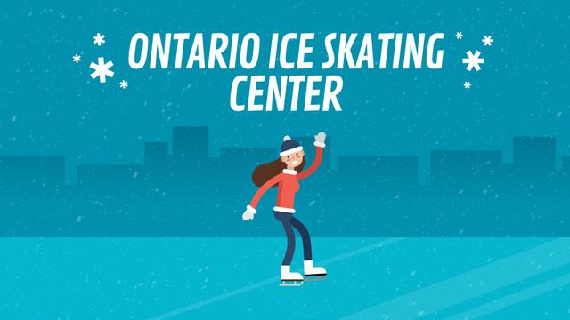 Ice Rink Ad Woman Skating on Ice Full HD video Tasarım Şablonu