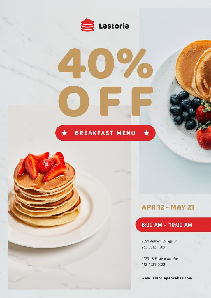 Cafe Menu Offer Stack of Pancakes with Strawberries — Modelo de projeto