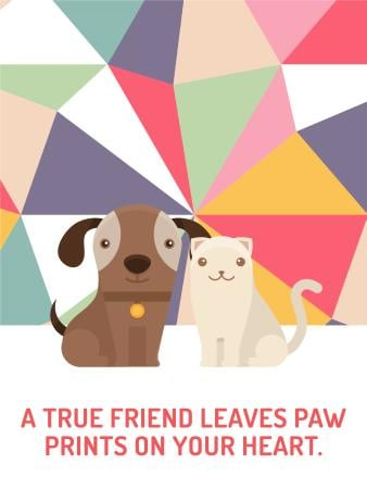Plantilla de diseño de Pets Quote Cute Dog and Cat Poster US