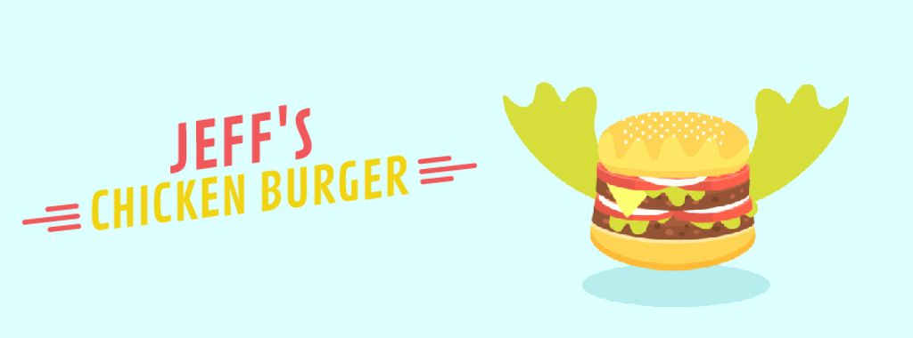 Fast Food Menu with Flying Cheeseburger | Facebook Video Cover Template — Створити дизайн