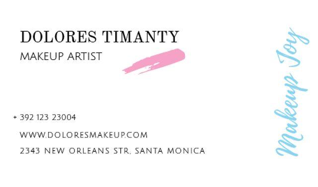 Modèle de visuel Makeup Artist Contacts with Smudge in Pink - Business card