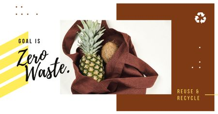 Zero Waste Concept Pineapple and Coconut in Textile Bag Facebook AD Design Template