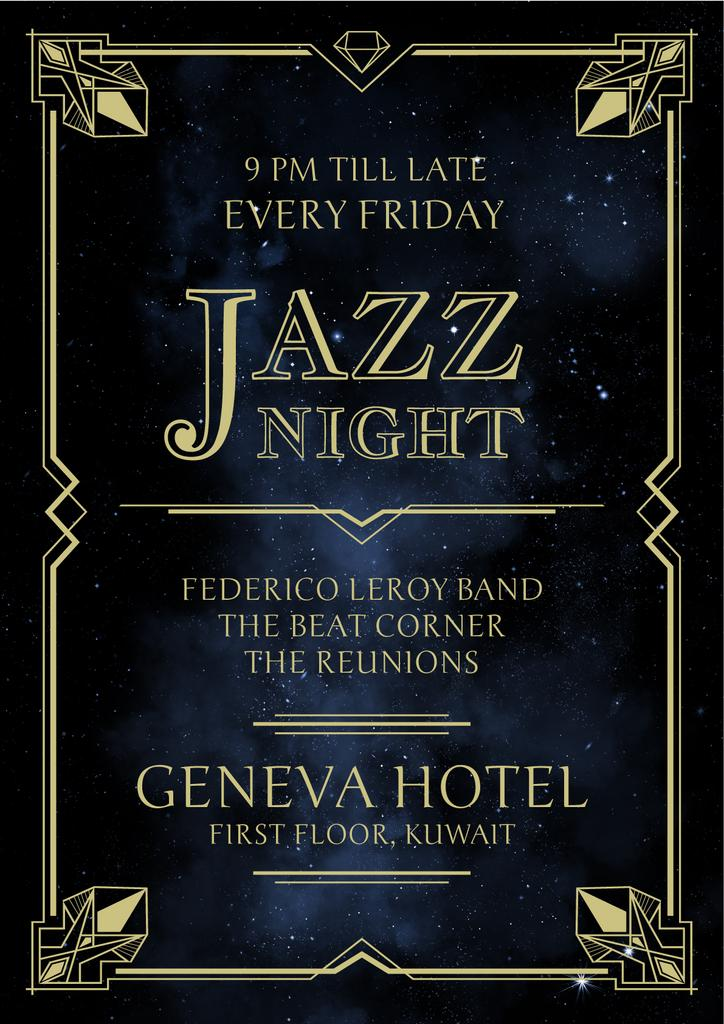 Jazz Night Invitation on Night Sky | Poster Template — Создать дизайн