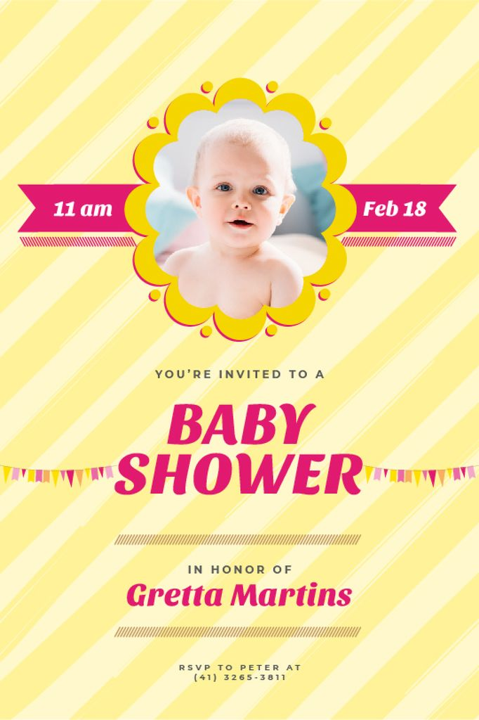 Baby Shower Invitation Adorable Child in Frame — Maak een ontwerp
