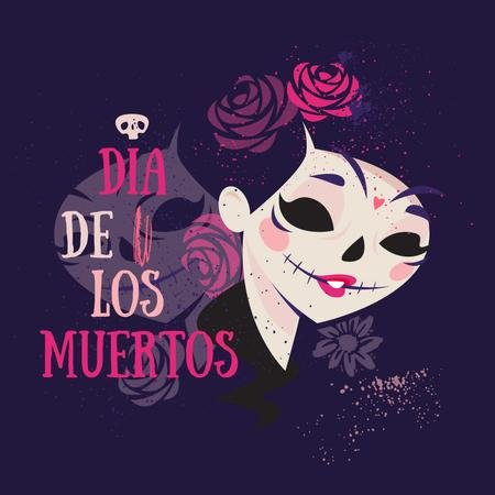Template di design Girl in Dia de los muertos mask Instagram