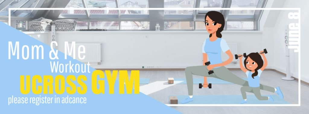 Mother and daughter training in gym — Create a Design