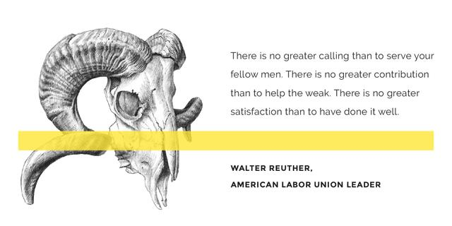 Volunteer Work Quote with animal Skull Image Design Template