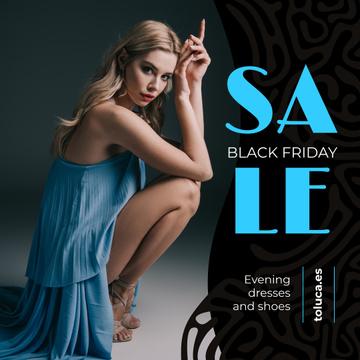 Black Friday Sale Woman in Blue Dress | Instagram Post Template