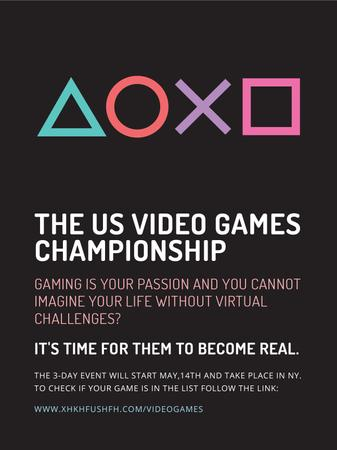 Plantilla de diseño de Video Games Championship announcement Poster US