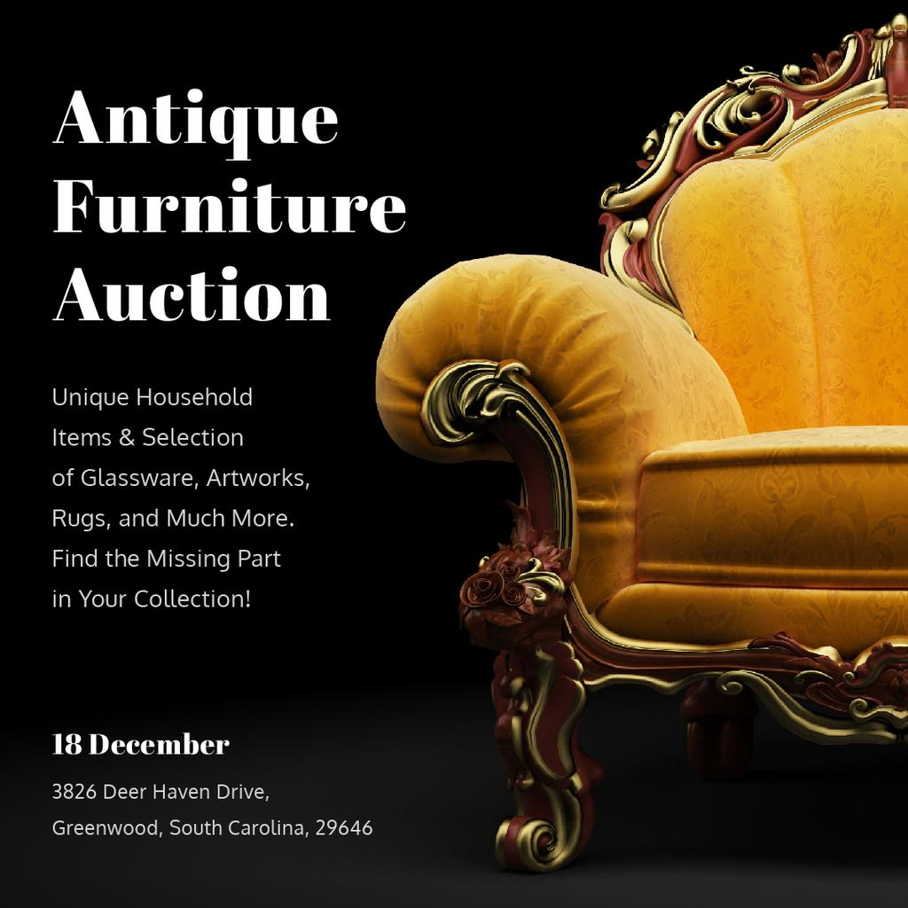 Antique Furniture Auction Luxury Yellow Armchair — Crear un diseño