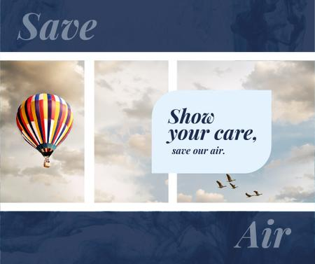 Template di design Hot air balloon flying in the sky Facebook