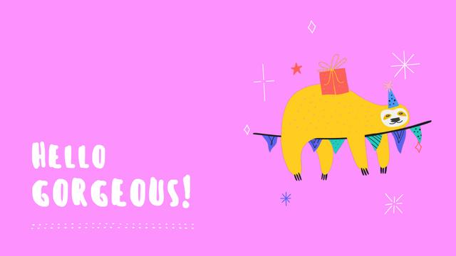 Ontwerpsjabloon van Zoom Background van Cute Sloth with Gift swaying on garland