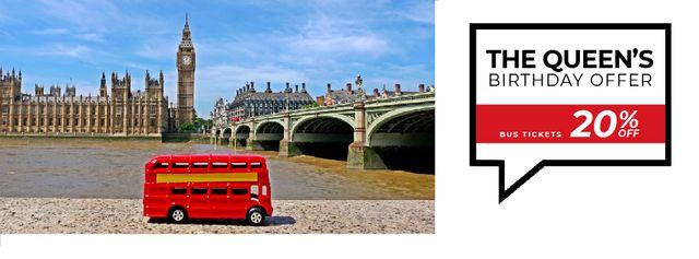 Queen's Birthday London Tour Offer Facebook Video cover Modelo de Design